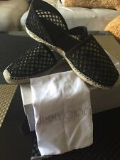 JIMMY CHOO Dreya Perforated Suede D'Orsay Espadrille Flats 39.5 (9.5) Black NEW