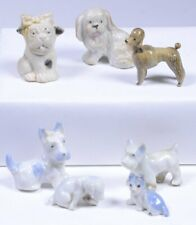 (7) Vintage Tiny Ceramic Dogs HURT BULL DOG Poodle SCOTTISH TERRIER FAMILY Japan