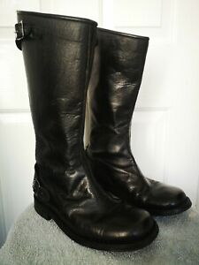 Vintage Leather Police Motorcycle Boots