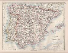 Mapa de España & Portugal 1921 ~ ~ Islas Baleares Leon Granada Huesca Beira