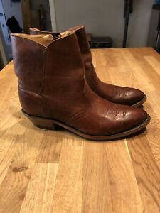 Boulet Mens Leather Brown Dress Boots Size 12 8203 Ankle Zip Cowboy Canada