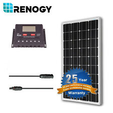 Renogy 100 Watt 100W 12V Mono Solar Panel Bundle Kit 30A PWM Controller Off Grid