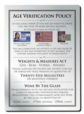 25ml 3 in 1 Alcohol Law Sign Pub Bar Restaurant Licensing Notice Under Age Wine