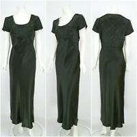 Womens Laura Ashley Vintage Silk Dress Green Evening Long Size 14UK