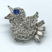Vintage Bird Brooch Scatter Pin Pave Rhinestone Sapphire Blue Eye Rhodium  A11