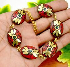 Nepal Fashion Banjara Coral Brass Tibetan Designer Jewelry Bracelet BTB613