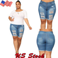 Plus Size Women Shorts Denim Skinny Ripped Hot Pant Beach Holiday Trousers Jeans