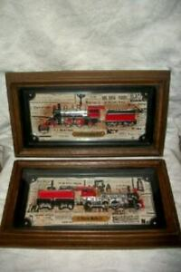 3D TRAIN WALL ART PICTURES DIXIE BELLE COLUMBIA PAIR FRAMED VINTAGE MID CENTURY