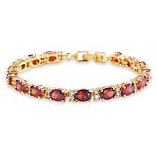 "Round White Topaz Oval Red Garnet Tennis Bracelet Women's Gold Filled Chain 6.7"""