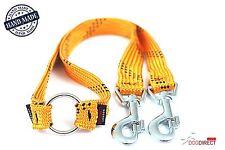 Coupler double duplex strong dog's leash/lead splitter 50cm/19in YELLOW-BLACK