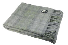100% Natural Alpaca Merino Wool Blanket Throw with Plaid Scottish Pattern
