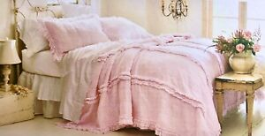 NEW Simply Shabby Chic Pink Raw Edge Cotton Gauze Twin Quilt ~French Cottage~