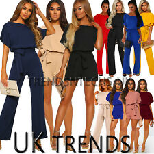 Womens Batwing Sleeve Jumpsuits Tie Waist Wide Leg Trousers Playsuit UK Size6-18