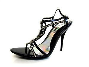 Anne Michelle Mujer Negro Alto Brillo Sparkley Zapatos de Tiras L3R986 (R12B)