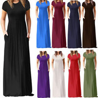 Womens Oversize Summer Loose Short Sleeve Soild Casual Long Maxi Dress Plus Size