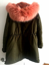 ZARA NEW LONG KHAKI PARKA COAT COLOURFUL PINK FAUX FUR HOOD SIZE S UK 8