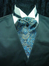 Vintage style ascot tie adjustable blue black and tan tietack included