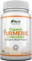 NU Nutrition Organic Turmeric Curcumin Organic High Strength 600mg, 365 Capsules