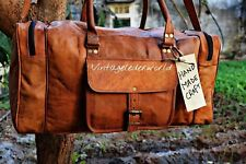 Vintage Men's Brown Genuine Leather Goathide Travel Luggage Duffle Gym Bags Tote