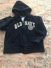 Boys Size3T Old Navy Zipper Hooded Sweatshirt Navy Blue White Letters