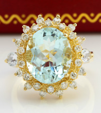 4.83 Carat Natural Blue Aquamarine and Diamonds in 14K Solid Yellow Gold Ring