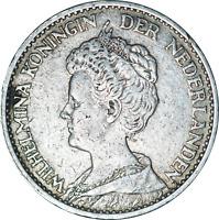 Dutch Holland Netherlands Wilhelmina Silver 1 Gulden Coin 1914 F