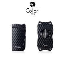 NEW Colibri Falcon Single Jet Flame Lighter & V Cutter Set Carbon Fiber Black