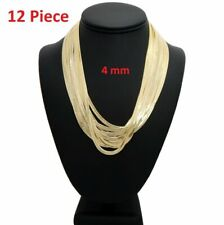 "12 Pcs 4mm Herringbone Chain Necklace 8"" 18"" 20"" 24"" Gold Plated Wholesale Lots"