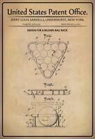 US Patent Billard Rack 1975 Blechschild Schild gewölbt Metal Tin Sign 20 x 30 cm
