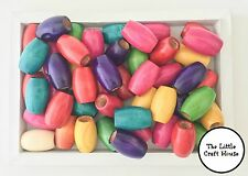 30 x Coloured Oval Wood Beads 30mm x 20mm Random Mix Wooden Bead Colour Macrame