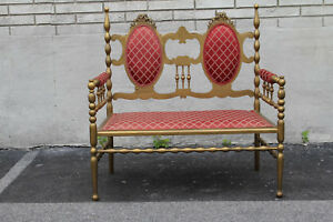 Antique Victorian Gilded Window Bench, Loveseat, New Upholstery