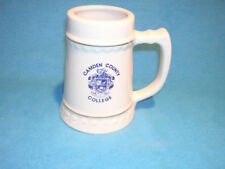 Camden County College Beer Mug, White with Blue Letters, and Gold Accents