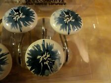 new 12 piece Round Blue Purple Flowers Black center FLORAL SHOWER CURTAIN HOOKS~