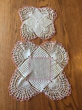 "Vintage hand crocheted doilies pink and ecru Cream set 2 square 11"" & 7"""