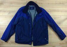 Lands End Classic Jacket Coat Blue Black Zippered Pockets Mens Large 42-44 L