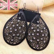 Large 8cm Black Filigree Earrings Rhinestone Jewelled Big Teardrop Enamel Metal