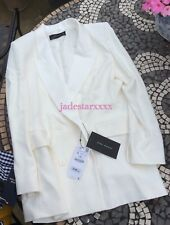 Zara Off White Double Breasted Jacket Small S 8 New BNWT