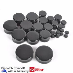Stone Ear Plugs Flared Black Expander Tunnel Piercing Stretchers 5-25mm