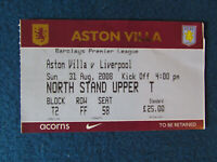 Aston Villa v Liverpool 31/8/08 Ticket