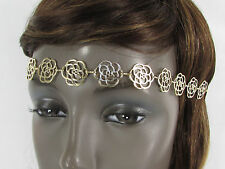 New Women Gold Metal Flowers Head Band Chain Fashion Jewelry Black Elastic Band