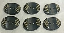 Lot of 6 Vintage Oblong Buttons  Black with Beige Crosshatching  two holes