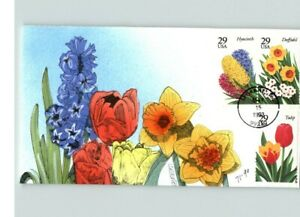 Beautiful Set of 2 Hand Painted SPRING FLOWERS; Lilacs, Daffodil, Iris, Tulip, H