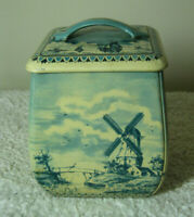 Vintage Tin Canister Container Blue & White Scenes of Holland Made West Germany