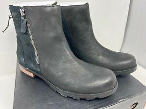 Sorel Emelie Zip Bootie in Black Leather and Suede Women's 9.5 <ea2>