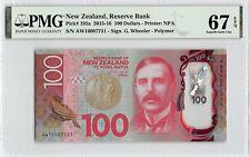 New Zealand 2016 P-195a PMG Superb Gem UNC 67 EPQ 100 Dollars *Polymer*