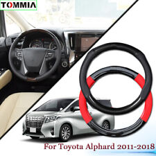 Black Carbon Fiber Leather Car Steering Wheel Cover For Toyota Alphard 2011+