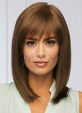 100% Human Hair Attractive Medium Light Brown Straight Top Quality Real Hair Wig