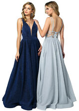 FORMAL EVENING PROM SPECIAL OCCASION GLITTER LONG DRESSES RED CARPET A-LINE GOWN