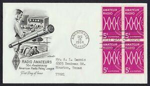 #1260 5c Amateur Radio-Block of 4, Artmaster FDC **ANY 5=FREE SHIPPING**