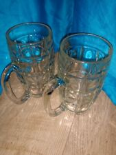 "VINTAGE Set of 2 Thumbprint Dimple Glass Beer Mugs Cups Marked ""D"""